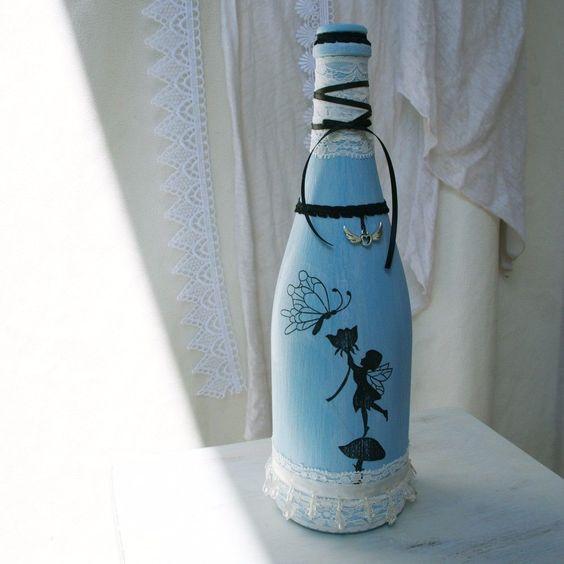 Shabby Chic Glas Vase Flasche Vintage Fee Handarbeit Bauernhaus Spitze Blau #7