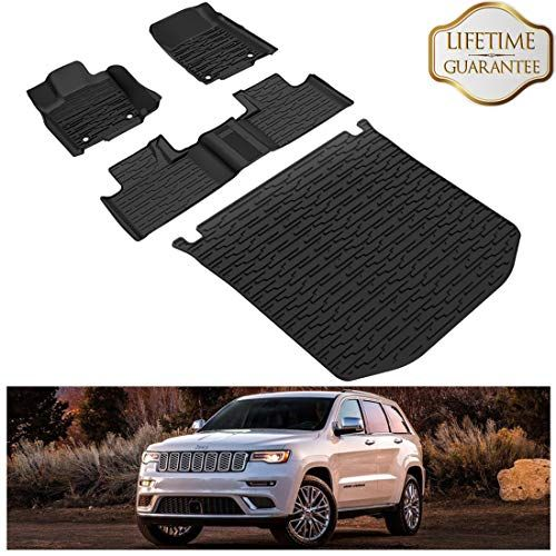 Kiwi Master Floor Mats Cargo Liners Set Compatible For 2016 2019 Jeep Grand Cherokee All Weather Protector Mat Front Rear 2 Row Seat Tpe Slush Liner Black Cargo Liner