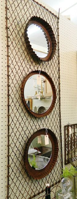 Industrial Style Mirrors from Salvaged Tart Cake Pans; upcycle, recycle, salvage, diy, repurpose; for ideas and goods shop at Estate ReSale & ReDesign, Bonita Springs, FL