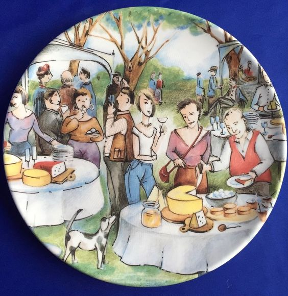 Brunelli Plate Wine And Cheese Party Picnic Scene Made Italy 11 Inches Italian #Dinner