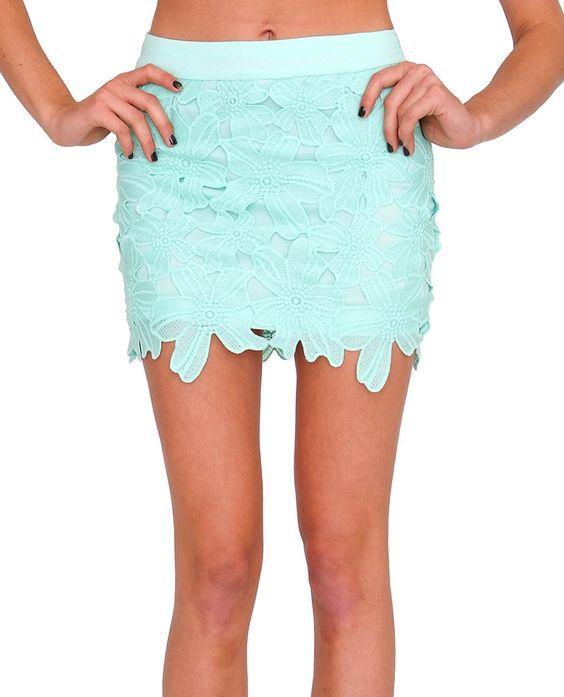 Adore You Lace Mini Skirt Mint