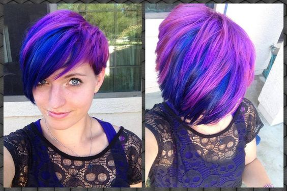 Pixie hair cut with Blue Envy and Lusty Lavender