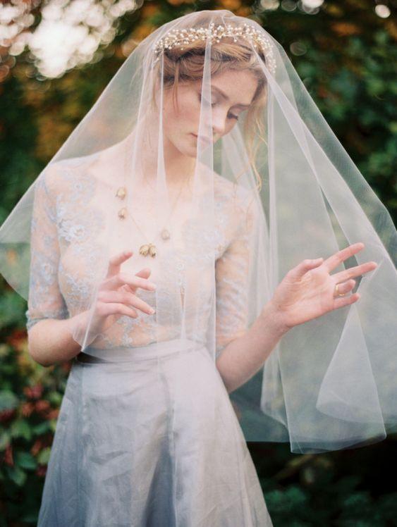 Gorgeous Veil + Dress   Erich McVey via Wedding Sparrow
