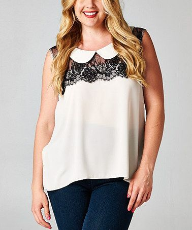 This White & Black Peter Pan Collar Tank - Plus by Tua Plus is perfect! #zulilyfinds