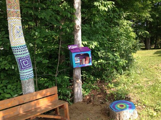 Art in the park- little library. We make a lot by hand, even that bench is home made at Gordon's Park