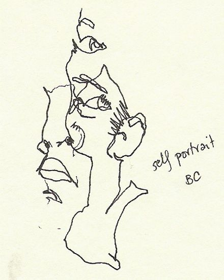 BLIND CONTOUR drawing three-quarter view self-portrait by seeks posted on http://theseekspeak.blogspot.com/2005/08/blind-contour-friday-03.html