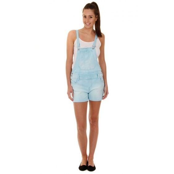 Sky Blue Dungaree Shorts with stretch. Summer essentials! #overalls #dungareeshorts #shortalls #festivalfashion