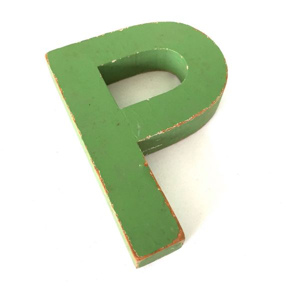 Vintage Sign Letter P Shabby Chippy Green Wood  Initial Folky