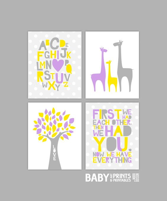 Nursery art Set of 4 8x10. First we had each by babyartprints, $16.00