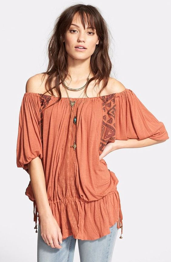 Free People New World Jersey Butterfly Tunic Desert Orange was $118 NWT Large #FreePeople #Tunic