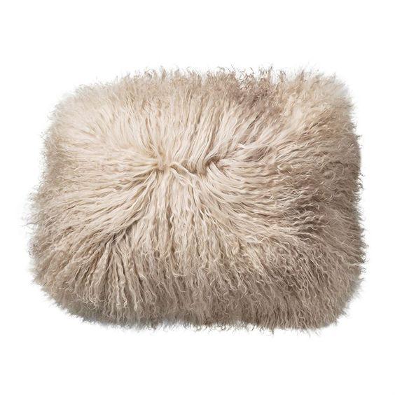 Sand Color Square Tibetan Lamb Fur Pillow by Bloomingville