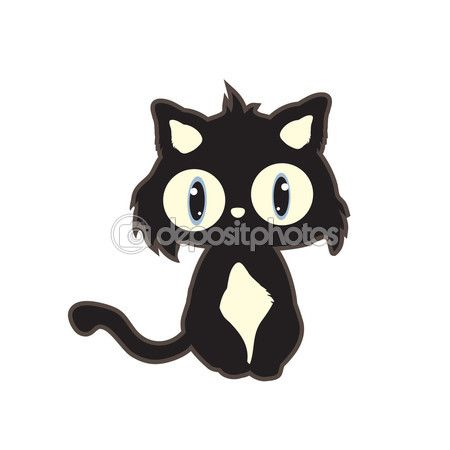 Милый мультфильм черный кот — стоковая иллюстрация #73878785