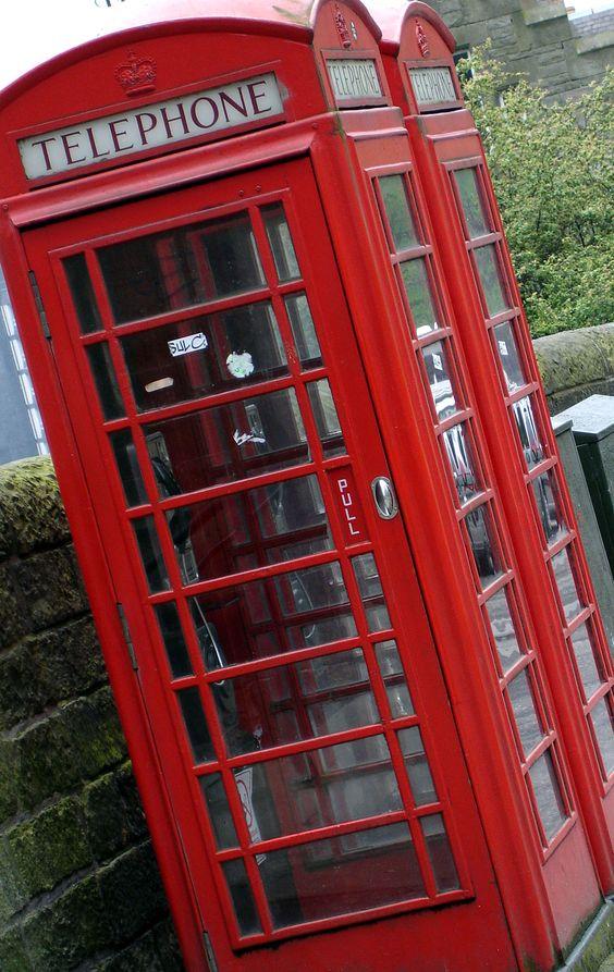 Phone booth in historic Edinburgh