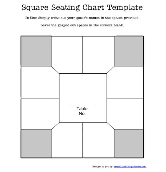 free printable square table #seating #chart #template for - free seating chart template for wedding reception