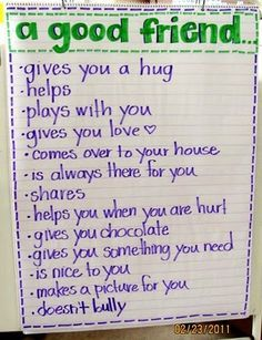 SED.CD.p4.5: Demonstrates an understanding of what it means to be a friend. Group time is a great time to do an activity like this. Children can offer suggestions for what makes a good friend and the teacher can write it. For children who can write, let them write their suggestions with assistance. For children who struggle with large groups, have a discussion with one or two other children about what makes a good friend. Encourage children to practice these things.