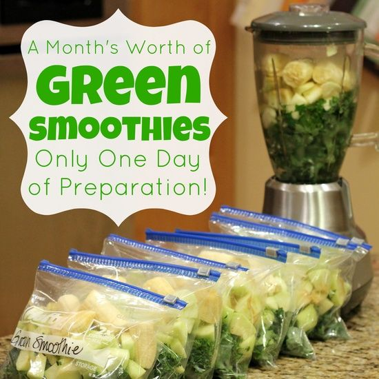 A Month's Worth of Green Smoothies – Only One Day of Prep- great idea - Ingredients for each 1 c. Kale (stems removed, coarsely chopped, firmly packed) 1/2 c. Parsley (loosely packed) 1 Granny Smith Apple 1 Banana 2 1/4 c. water (Comment: OK, add cinnamon)