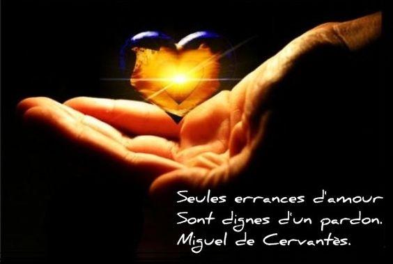Seules errances d'amour sont dignes d'un pardon. (Miguel de Cervantes)