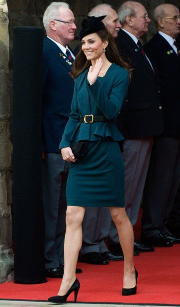 The Look: Royal Ruffle. A crisp jacket with this spring's favorite trend — the peplum — redefines a to-the-knee sheath.  The Girl: Catherine, Duchess of Cambridge in Leicester, England, kicking off Queen Elizabeth II's Diamond Jubilee tour.  The Details: L.K. Bennett jacket and dress, Kiki McDonough earrings, Lock & Co. hat, Episode shoes.