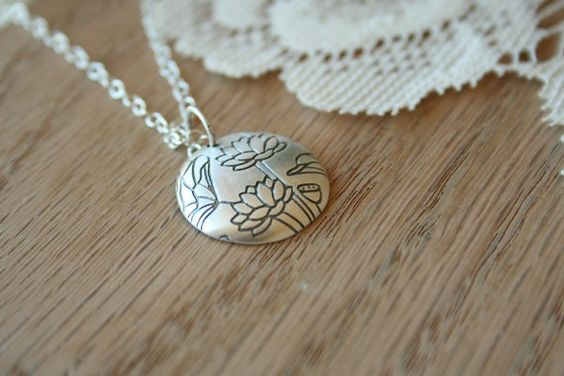 The Sterling Silver Lotus Pendant Necklace by TwoLittleDoves: