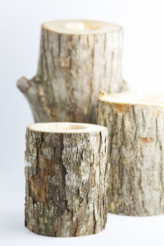 Candles rustic and logs on pinterest for Log candles diy