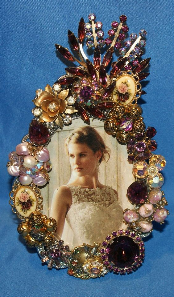 Purple Rose Vintage Rhinestone Jeweled Picture Frame OOAK | Abuelas ...