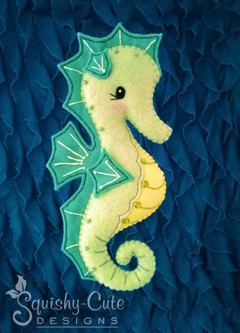 Caballito de mar coser patrones PDF - océano peluche sentían Plushie - Serena el caballito de mar - descarga instantánea