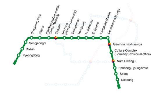 C'est avec le commencement des opérations du #Métro de #Gwangju que Gwangju est devenue la cinquième ville de Corée du Sud après Daegu, Busan, Incheon et Séoul à avoir un système de transport de métro rapide. Il dispose présentement d'une seule ligne opérationnelle reliant 20 stations sur une voie de 20,1 kilomètres. Le Gwangju Metropolitan Rapid Transit Corporation exploite la ligne. Chaque jour, environ 46600 navetteurs utilisent ce système de métro.