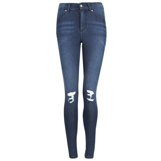 Cheap Monday Blue On Blue Ripped Knee Skinny Jeans ($33) ❤ liked