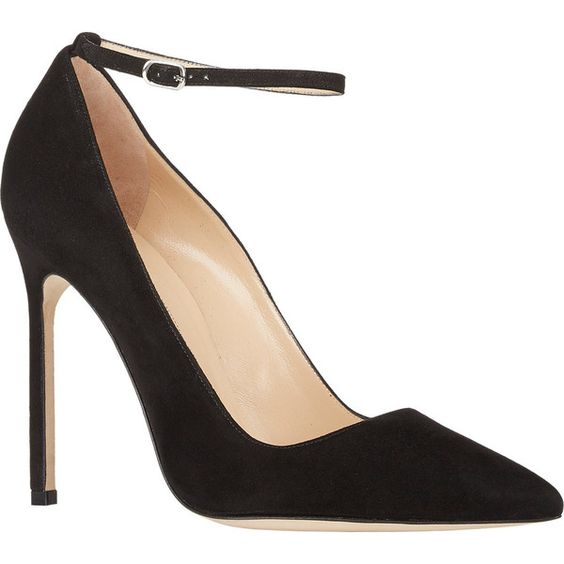 Manolo Blahnik Ankle-Strap BB Pumps ($645) ❤ liked on Polyvore featuring shoes, pumps, heels, buckle shoes, ankle wrap shoes, pointy toe ankle strap pumps, heels & pumps and ankle strap shoes