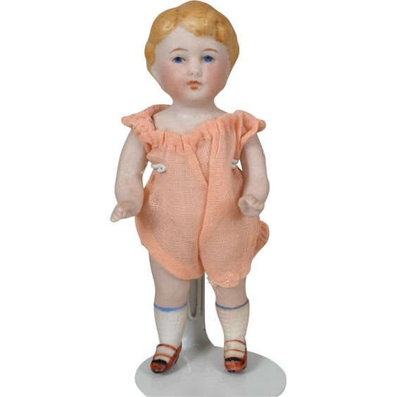 Kestner All Bisque Boy with Molded Blonde Hair 4.25 Inches