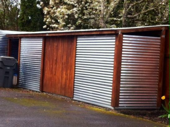 Storage Shed I Want In The Backyard Corrugated Metal And Wood However I D Put The Door In The Middle Rather Than Metal Storage Sheds Storage Shed Metal Shed