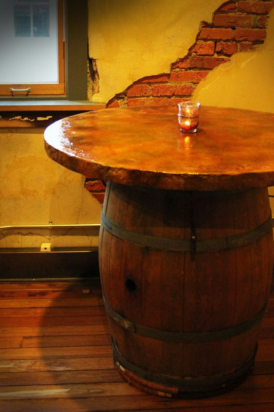 Handmade Wine Barrel Table Top With Copper By
