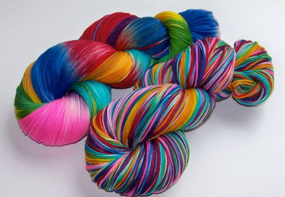 Unique hand-painted and kettle-dyed yarns for knitting.