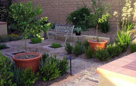 Garden ideas landscaping ideas mediterranean garden for Courtyard stone and landscape