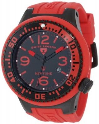 Relógio Swiss Legend Men's 21818P-BB-01-RBS Neptune Black & Red Watch #Relogio #SwissLegend