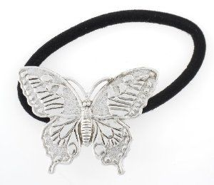 "Silver Monarch Butterfly Handcrafted PonyTail Holder by Olivia's Journee. $23.90. The butterfly lover will surely love wearing this fabulous Monarch Butterfly Ponytail. Adds a bit of flair to the ponytail. Antiqued Sterling Silver Finish. Elastic can be changed as needed. Individually carded. Handcrafted in Maine USA. 1 3/4"" wide."