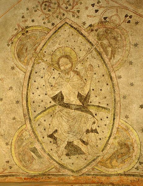 Gotische Wandmalereien (um 1414) im Bremer Dom (Museum): Thronender Christus in der Mandorla (Offb. 1,16)