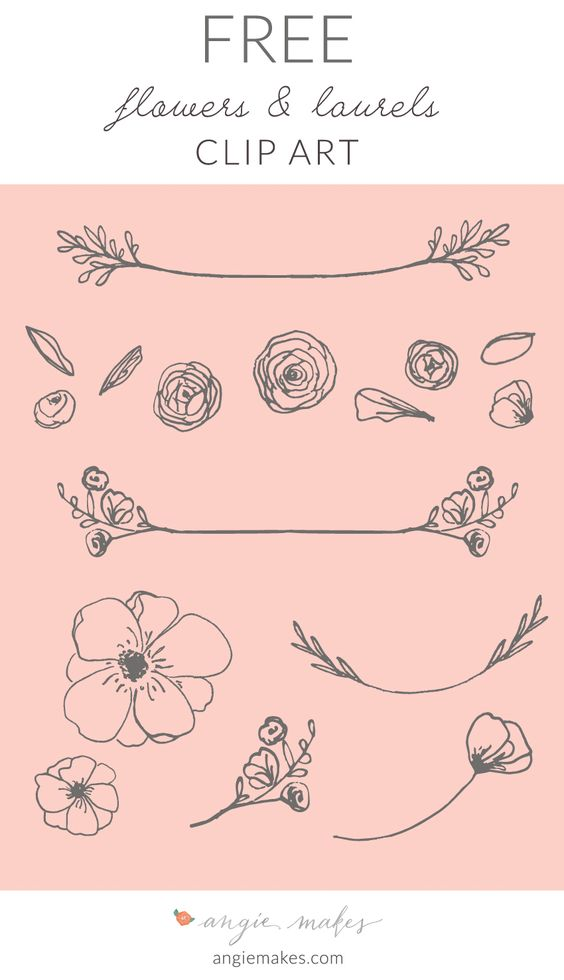 Free Laurel Clip Art For all You Lovely Readers! This Cute, Girly, and Feminine Free Laurel Clip Art + Flowers May be Perfect for Your Next Project.