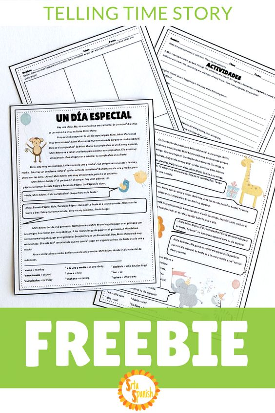 FREE story and activities for practicing time in Spanish class! Check out this free download for your novice middle school or high school Spanish classes. Great for telling time and basic vocabulary - plus, it's adorable! Fun reading and writing activities to practice telling time in Spanish in context through storytelling. Great to add to your #classroomlibrary for #fvr or perfect for a #printandgo #subplan for your Spanish classroom. Click to snag this freebie!