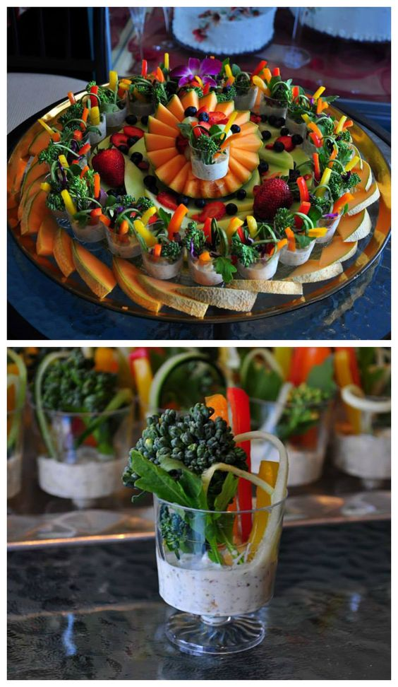 A delicious fruit and veggie shooters platter. #Amazing party appetizers #Beautiful dip #Party platter #Healthy: