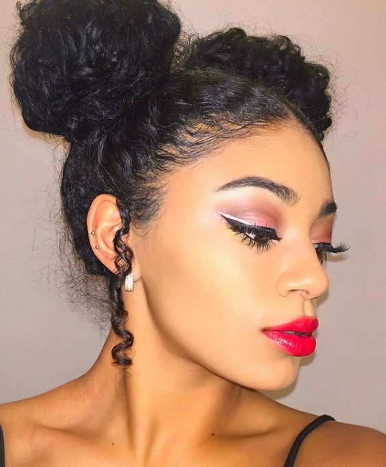 Charming make up and cool two buns! @jasmeannnn #repost #redlips #bun #twobuns #makeup #haircolor #hairstyle #hairinspiration #hair #gorgeous: