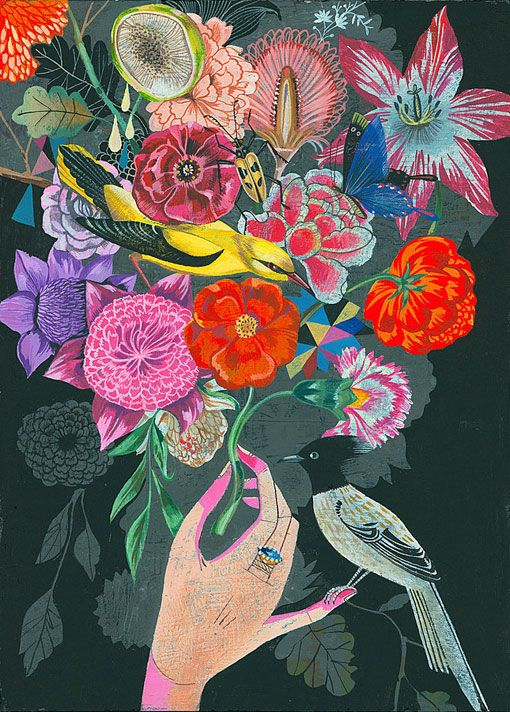 Spring in bloom! Illustration by Olaf Hajek.