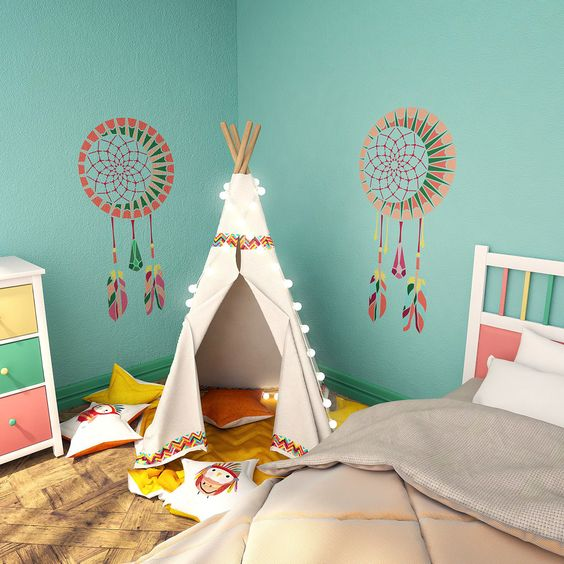 Wall Decor For Childs Room : Dream catcher wall stencil kids room decor