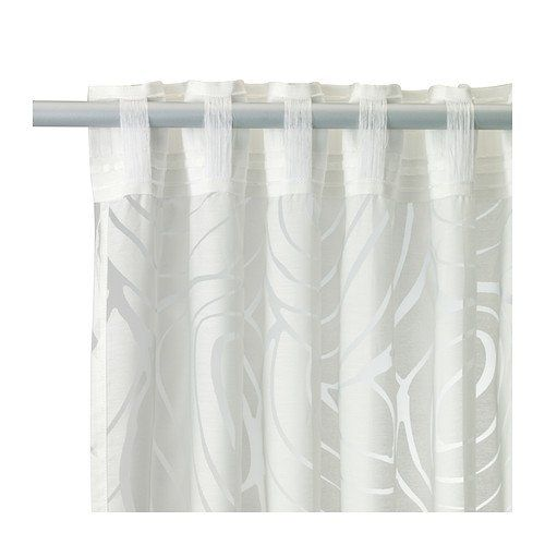 "Ikea Curtain Nordis White with Sheer Design 57 X 98"" 2"