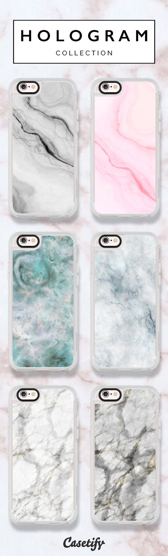 6 most popular marble iPhone 6 protective phone cases Click through to see more marble iphone phone case ideas >>> https://www.casetify.com/hologram/collection @casetify