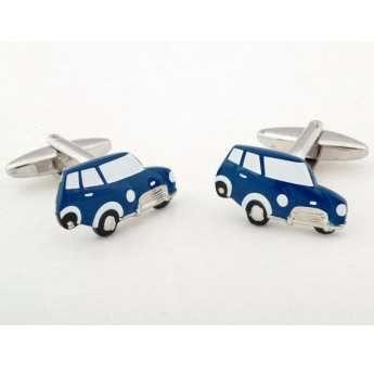 Gemelos de acero Ox bañados en rodio con forma de coche Mini azulon esmaltado. http://www.tutunca.es/gemelos-mini-azul
