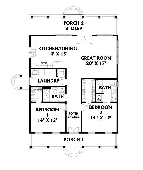 2 bedroom open floor plan but i think i would lengthen it for Open house plans with porches