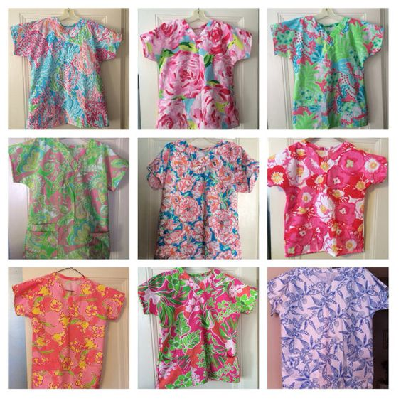 Scrub top made with choice of Lilly Pulitzer fabric by wamozart12