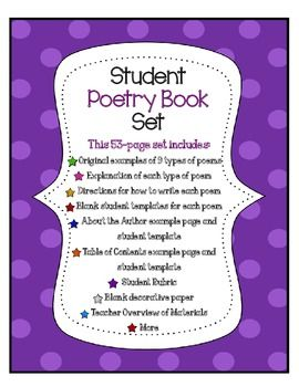 Poetry book set with directions examples templates for Poetry booklet template