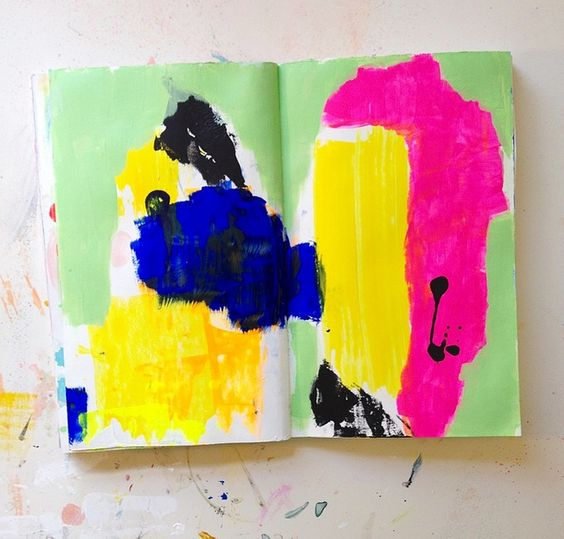 Art journal page -  Colorful sketchbook - Creative inspiration - Painting